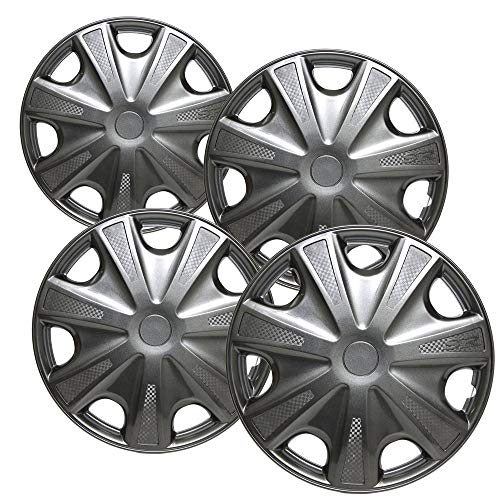 (Hubcaps 15 inch Wheel Covers - (Set of 4) Hub Caps for 15in Wheels Rim Cover - Car Accessories Gun Metal Hubcap Best for 15inch Cars Standard Steel Rims - Snap On Auto Tire Replacement Exterior Cap)