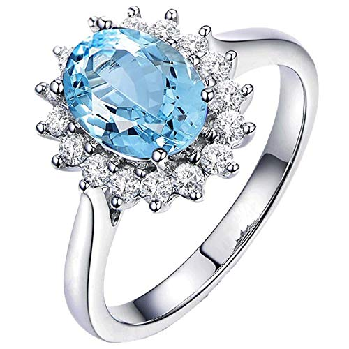 (Aokarry - S925 Silver Sterling Womens Diana Engagement Ring Blue Created-Topaz December Birthstone Size 8.5)