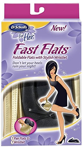 Dr. Scholl's® For Her Fast Flats Foldable After Party Woman Ladies Pumps Up Folding Travel Ballet Comfort Shoes Black with Golden Carrying Wristlet Case (3 - 5)