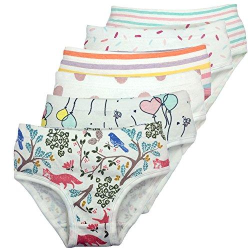 Little Girls Boyshort Underwear Cotton Briefs Panties Set 5 Or 6 Pack (3-4 Years, - Soft Underwear Girls