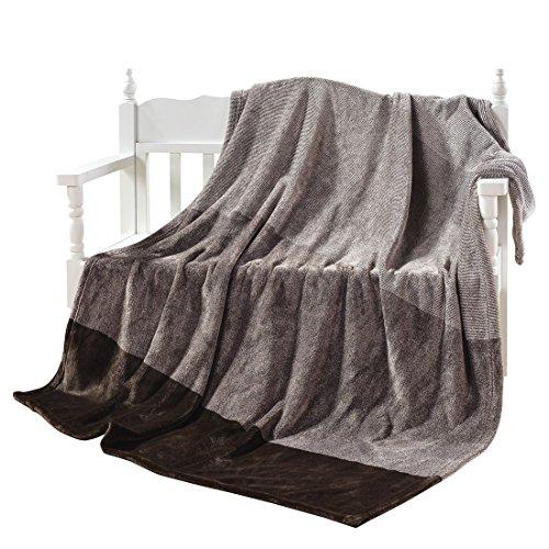 "Supreme Plush Blanket - Super Soft Yarn Dyed Couch Throws Blanket Brown 50""x 60"" Gradient Stripe - Plush Flannel Sofa TV Blanket - Lightweight Warm Cozy Flannel Fleece Blanket - Camping Picnic Carpet"