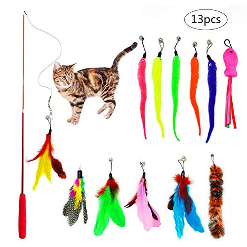 (PiXiu-XP 13 pcs Retractable Cat Toys Interactive Feather Teaser Wand Toy Set,Included 1 Wands & 12 Refills Feathers Birds Worms Fish Catcher for Cats and Kitten)