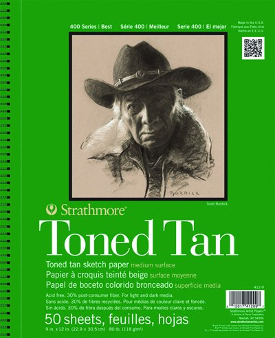 Strathmore 412-9  400 Series Toned Tan Sketch Pad, 9