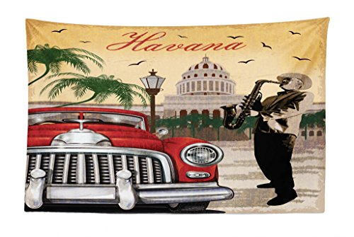 Lunarable Havana Tapestry, Saxophone Playing Gentlemen Wearing Panama Hats and Nostalgic Red Car, Fabric Wall Hanging Decor for Bedroom Living Room Dorm, 45