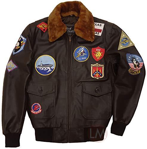 Top Gun Jacket - Maverick Costume Tom Cruise Top Gun Bomber Jacket - Flight Suit (Brown - A2 Aviator Leather Jacket, L/Body Chest 42