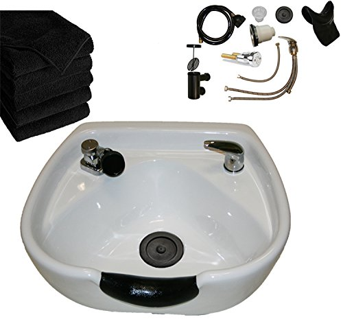 LCL Beauty Heart Shaped Heavy Duty CERAMIC Professional White Shampoo Bowl w/Vacuum Breaker & 6 Black Absorbent Salon Quality Towels ()