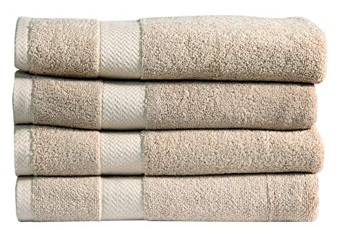 Divine 100% Ringspun Combed Cotton Premium Luxury Extra Large Turkish Bath Towels (30×54 Inch)–Set of 4,Plush,Soft,Absorbent,Machine-Washable,Quick-Dry,Eco-Friendly,SPA/Hotel Quality (Beige)
