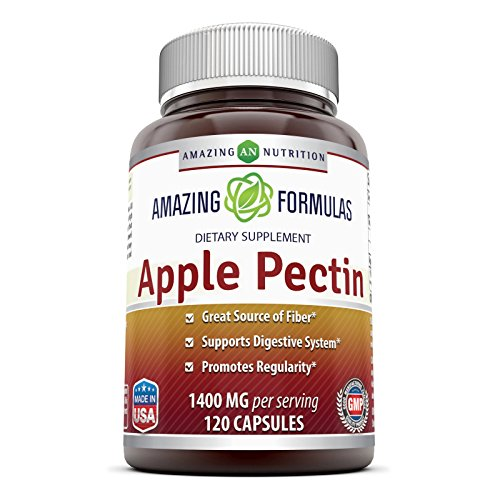 Amazing Formulas Apple Pectin Dietary Supplement - 1400 mg per serving of 2 capsules- 120 Capsules Per Bottle - Good Source of Fiber, Promotes Digestive Health, Promotes Regularity*