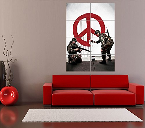 Banksy-Soldiers-Painting-Peace-Sign-Poster-Giant-Art-Print-OZ1933