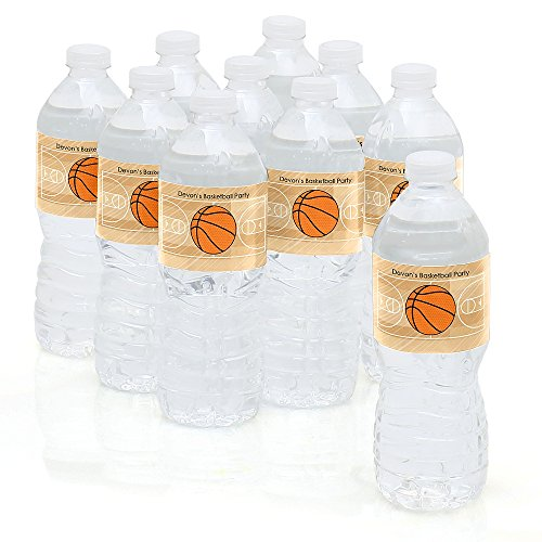 Custom Nothin' But Net - Basketball - Personalized Party Water Bottle Sticker Labels - Set of 10 (Personalized Sport Label Water)
