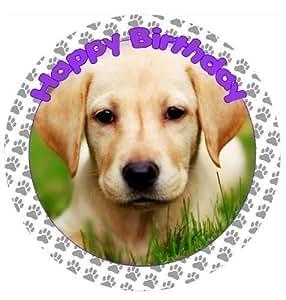 Amazon.com: Yellow Labrador Dog Cake Topper edible sugar ...