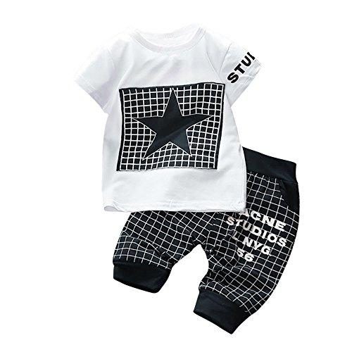 iYBUIA Unisex 2Pcs Infant Kid Boys Girl Letter Star Print Plaid Tops+Pants Outfits Clothes Set(Dark Blue,M)