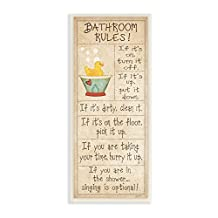The Stupell Home Decor Collection Bathroom Rules Rubber Ducky Tall Bathroom Wall Plaque