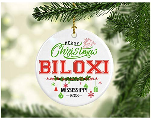 Christmas Decorations Tree Ornament - Gifts Hometown State - Merry Christmas Biloxi Mississippi 2018 - Ceramic 3 Inches White