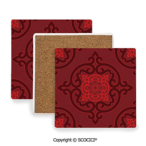 (Ceramic Coasters with Cork Base, Prevent Furniture from Dirty and Scratched, Suitable for Kinds of Mugs and Cups,Maroon,Chinese Authentic Damask Rosette Inspired Motif,3.9