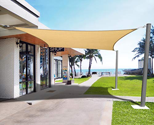 Henkelion Sun Shade Sail Rectangle [12' x 16'] UV Block Durable Canopy Shade Sails for Outdoor Patio Garden Backyard Pond Pergola Sandbox Driveway - Sand Color