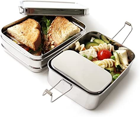 ECOlunchbox Three-in-One Stainless Food Canister & Lunch Box, Regular Size, Perfect for Children's School Lunch & Snacks