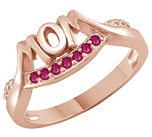 - AFFY Simulated Ruby mom Ring in 14k Rose Gold Over Sterling Silver (0.13 Cttw)