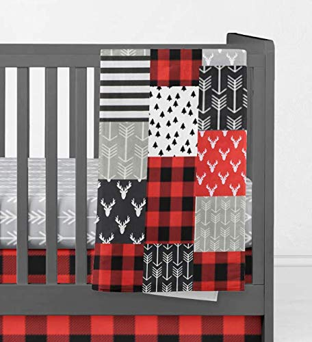Patchwork Crib Quilt - Woodland Adventure Red, Gray, Black - Handade in America by Twig + Bird