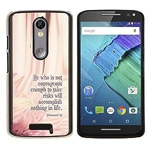 EJOOY---Cubierta de la caja de protección para la piel dura ** Motorola Moto X3 3rd Generation ** --Ali Boxeo cotización Mensaje Floral Pink