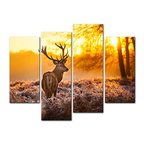 - Canvas Print Wall Art Painting For Home Decor,Deer In Autumn Forest In Sunset Animal Wildlife 4 Piece Panel Paintings Modern Giclee Stretched And Framed Artwork The Picture For Living Room Decoration,Animal Pictures Photo Prints On Canvas