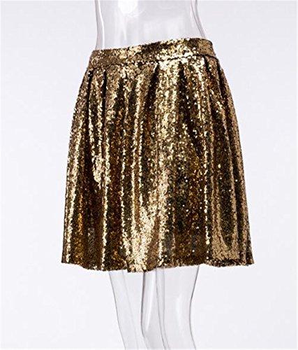 Gold Glow E Colore Moda Gonna Donna Partito Paillettes Mini Lustrini Gogofuture Sexy gonna Glitter Cocktail Scintilla Skirt Puro 6TgWq