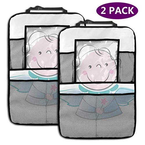 2 Pack Car Backseat Organizer Flying Angel Cartoon Fairy Swing Car Kicking Mat with Storage Pockets for Toy Bottle Book Drink Universal Fit Travel Accessories for Kid