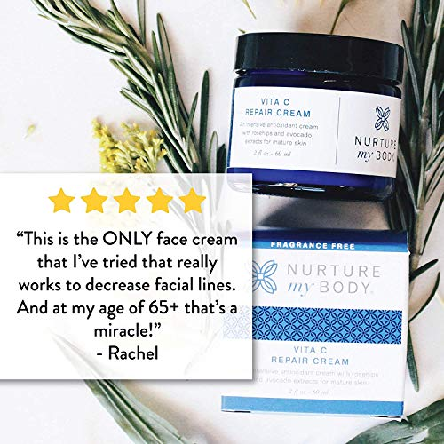 Vitamin C Repair Face Cream by Nurture My Body Fragrance Free, All-Natural, Certified Organic 2 fl oz