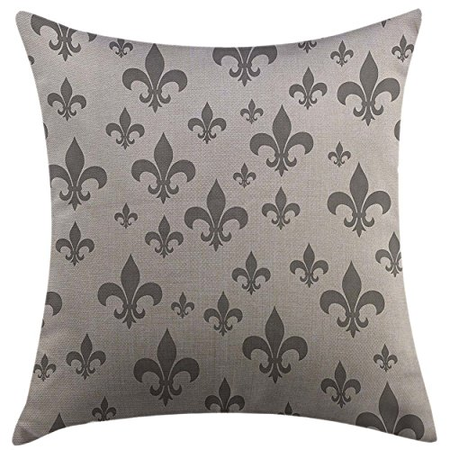 Mugod Pillow Cases Cushion Cover Fleur De Lis Ethnic Lily Pattern Classic Retro Royal Vintage European Iris Ornamental Art Grey Pillowcase for Men Women Girl 20x20 Inch (Chair Cushions Fleur De Lis)
