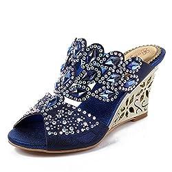 Crystal Rhinestones Slip on Wedge Sandals