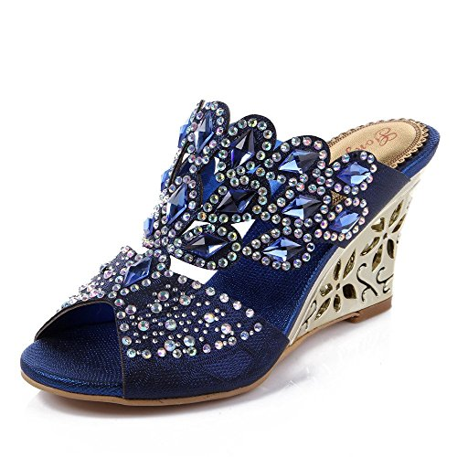 Unicoratha Women's Rhombus Shaped with Crystal Rhinestones Slip on Party Dress Wedge Sandals Blue 9.5 M US