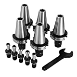 OrangeA 5 PCS Collet Set CAT40 ER16 Collet Chuck with Pull Stud Spanner Wrench Collet Chuck for CNC Engraving Machine & Milling Lathe Tool (CAT40 ER16)