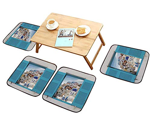 (HuaWu-home Anti-Skid Chair Cushions with Cityscape of oia Traditional Greek Village of Santorini Greece Health is Convenient W19.5 x L19.5/4PCS Set)