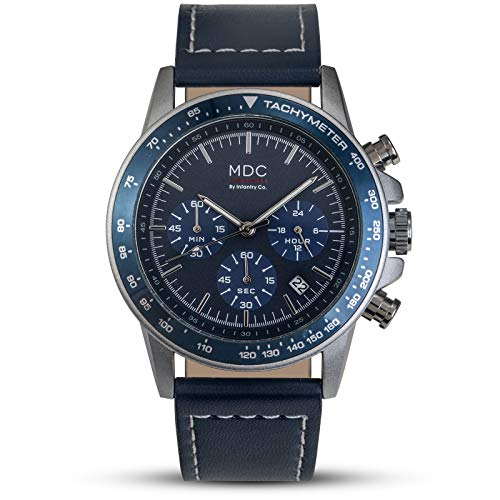 MDC Mens Blue Leather Watch Classic Business Navy Chronograph Wrist Watches for Men with Tachymeter Date Display (Chronograph Tachymeter Watch Gents)