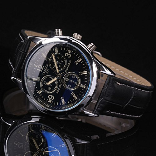 Fashion Men's Black Leather Stainless Steel Military Sport Quartz Wrist Watch (Mens Watches Fossil Cheap)