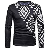 kaifongfu Mens Tops,Print Long Sleeve African 7D Print Round Neck Sweatshirt Top(Black,S)