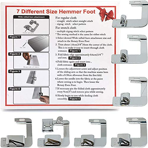 Sew Rolled Hem - Rolled Hem Presser Foot Set 7pcs - Fits All Singer, Brother, Babylock, Janome, Kenmore Low Shank Sewing Machines (and More!)