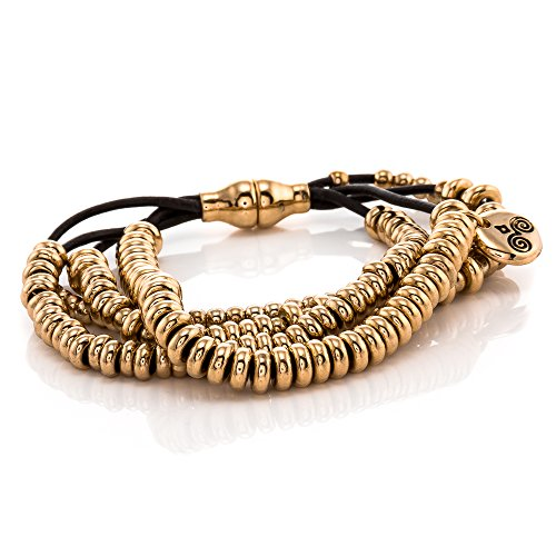 Trades by Haim Shahar Suzette Leather Bracelet 14K gold plated beads magnetic clasp