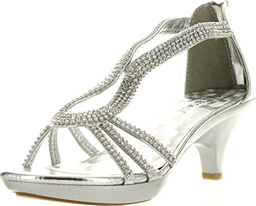 Delicacy Angel 36 Women Dress Sandals Rhinestone Platform Pumps Wedding Bridal Low Heel Shoes,Silver,8.5