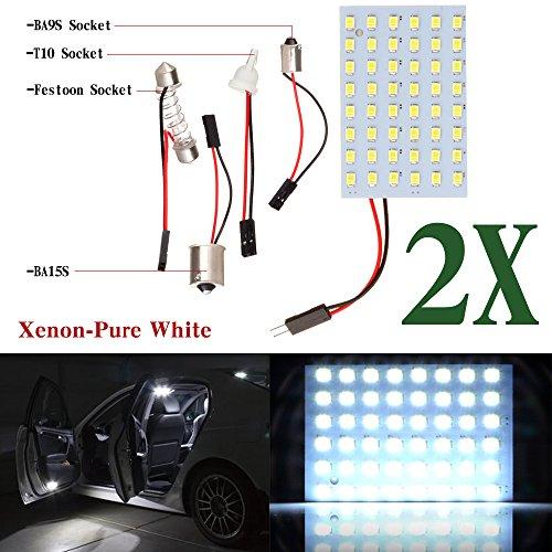 T10 Festoon - CCIYU Car White LED 48SMD Panel Interior Dome Map Light Bulb Lamp + T10 BA9S BA15S Festoon Adapter (2pack)