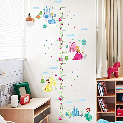Cartoon Height Measure Wall Sticker for Kids Room Girl Bedroom Fairy Princess Growth Chart Home Decor Removable PVC Mural Poste (4) ()