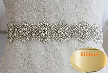 Amazon.com: QueenDream Bridal Sash-Rhinestone Sash-Wedding Sash ...