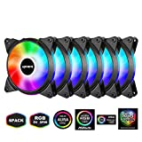 upHere 5V 6-Pack 120mm Silent Intelligent Control 5V Addressable RGB Fan Motherboard Sync, Adjustable Colorful Fans with Controller T3SYC3-6