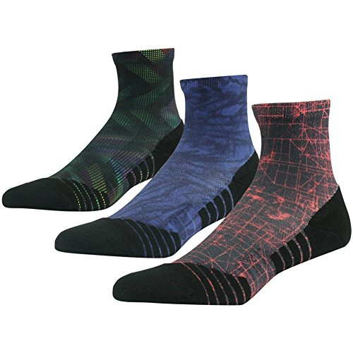 Mens 3 Stripe Quarter Sock - Performance Trekking Socks HUSO Running Socks Unisex, CoolMax Fabric Keeps Feet Cool, Dry,3 Pairs (Multicolor,L/XL)