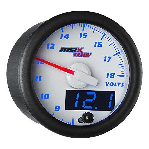 (MaxTow Double Vision Volt Voltmeter Gauge - Voltage Range 8-18 Volts - White Gauge Face - Blue LED Illuminated Dial - Analog & Digital Readouts - for Trucks - 2-1/16