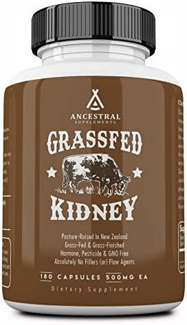 Ancestral Supplements Kidney (High in Selenium, B12, DAO) — Supports Kidney, Urinary, Thyroid, Histamine Health (180 Capsules)