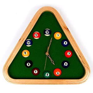Green felt clockface with pool ball as the hours