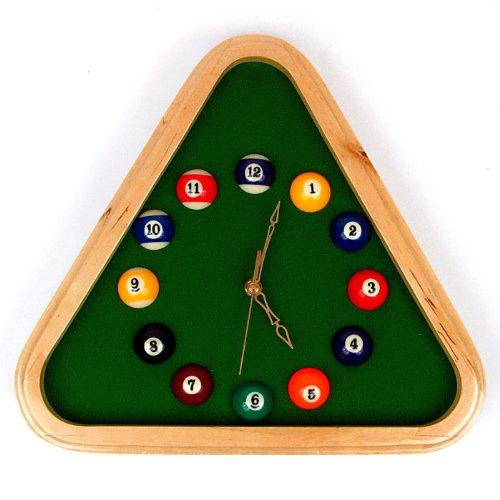Trademark 12.75-Inch Pool Rack Quartz Clock with Solid Wood Frame (Room Decor Billiards)