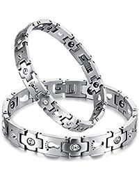 Stainless Steel Men's Womens Love Footprint Rhinestone Magnetic Link Wrist Bracelet