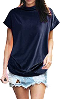 Women Turtleneck Cotton Solid Casual Blouse Tunic Top Short Sleeve T Shirt Plus Size Baggy Tee Oversized Tops